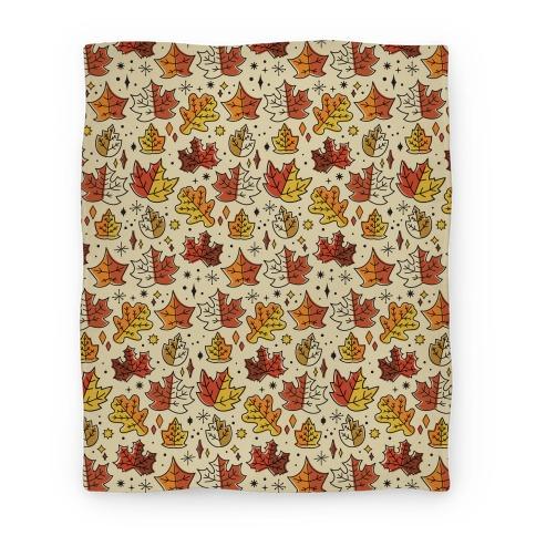 Mid Century Modern Fall Leaves Blanket