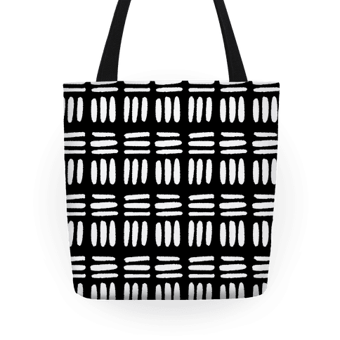 Dashed Lines Black and White Boho Pattern Tote
