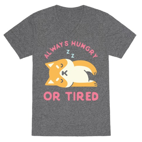 Always Hungry or Tired Shiba Inu V-Neck Tee Shirt
