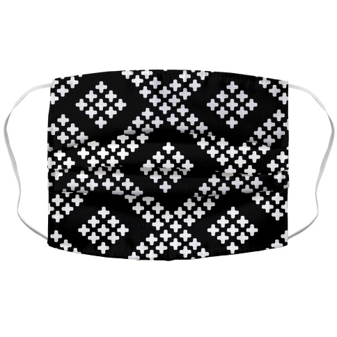 Little Cross Pattern Black Accordion Face Mask
