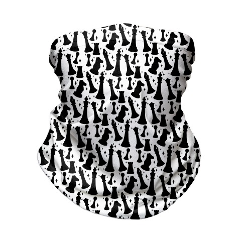 Black and White Chess Pieces Pattern Neck Gaiter