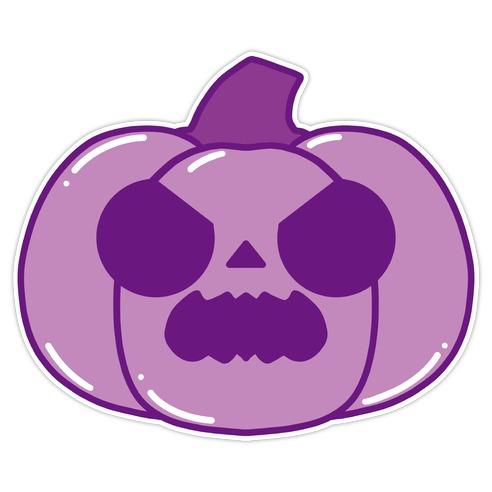 Kawaii Angry Pumpkin Purple Die Cut Sticker