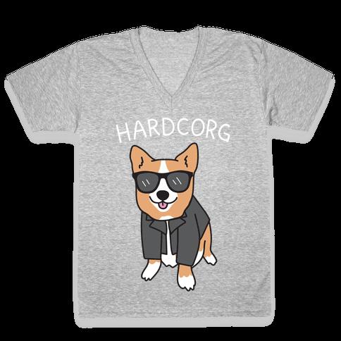 Hardcorg Hardcore Corgi V-Neck Tee Shirt