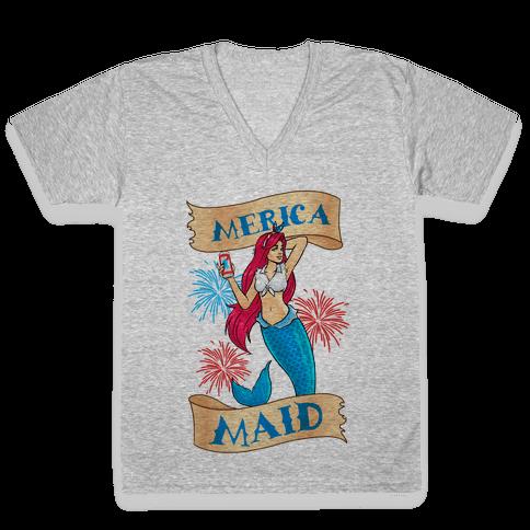 Merica Maid V-Neck Tee Shirt