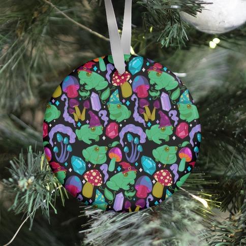 Magical Mushroom Frogs Pattern Ornament