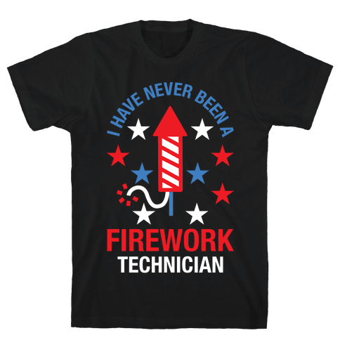 Firework Technician Red White and Blue Mens T-Shirt