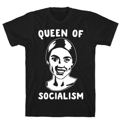Queen of Socialism Alexandria Ocasio Cortez White Print T-Shirt