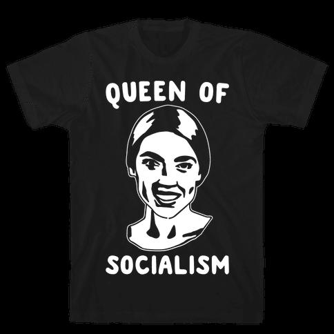 Queen of Socialism Alexandria Ocasio Cortez White Print Mens T-Shirt