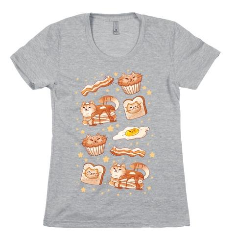 Breakfast Cats Womens T-Shirt