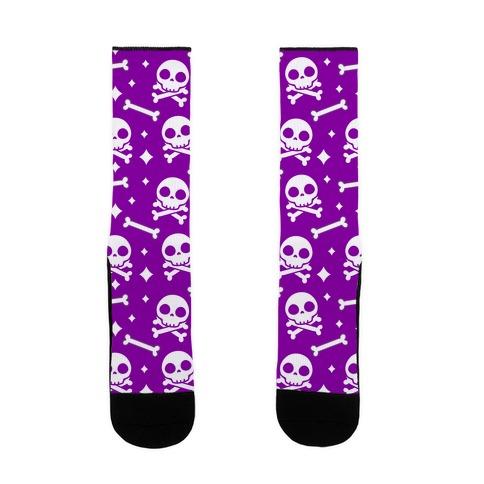 Cute Skull N' Bones Pattern (Purple) Sock