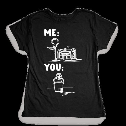 Me Vs. You Crust Chum Meme Parody White Print Womens T-Shirt