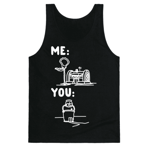 Me Vs. You Crust Chum Meme Parody White Print Tank Top