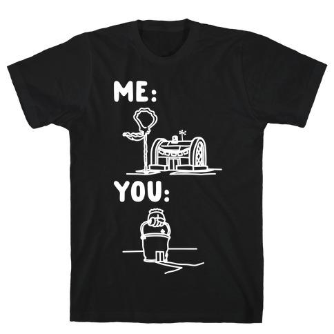 Me Vs. You Crust Chum Meme Parody White Print T-Shirt