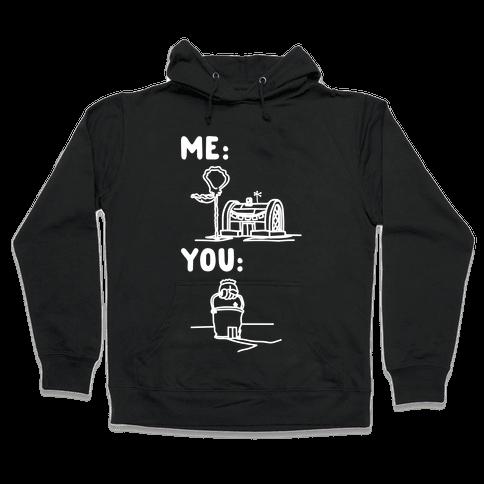 Me Vs. You Crust Chum Meme Parody White Print Hooded Sweatshirt