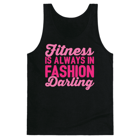 Fitness Is Always In Fashion Darling White Print Tank Top