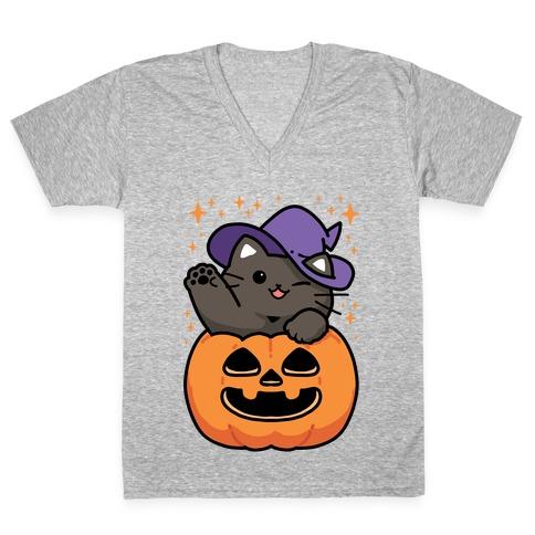 Cute Halloween Cat V-Neck Tee Shirt
