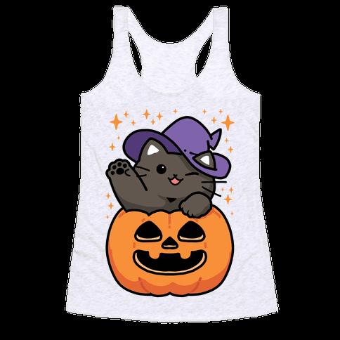 Cute Halloween Cat Racerback Tank Top