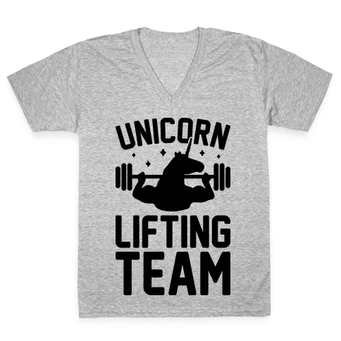 Unicorn Lifting Team V-Neck Tee Shirt
