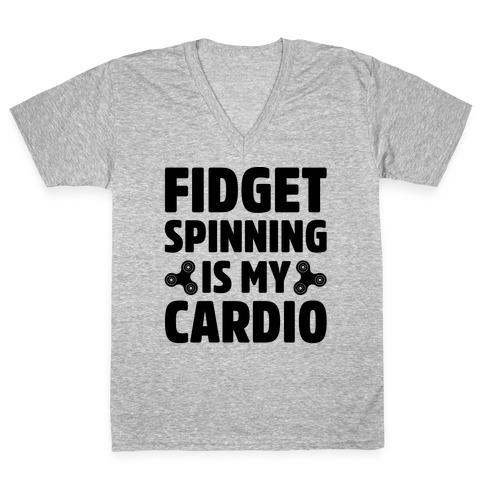 Fidget Spinning Is My Cardio V-Neck Tee Shirt