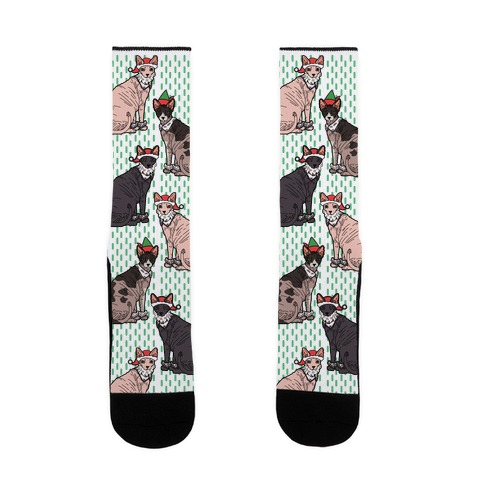Hairless Cat Christmas Pattern Sock