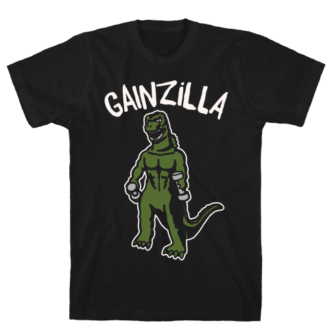 Gainzilla Lifting Parody White Print Mens T-Shirt