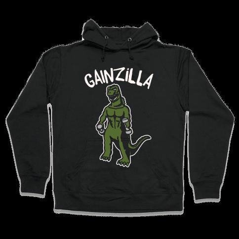 Gainzilla Lifting Parody White Print Hooded Sweatshirt