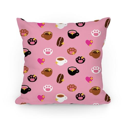Kitty Coffee Beans Pattern Pillow