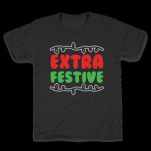 Extra Festive White Print Kids T-Shirt