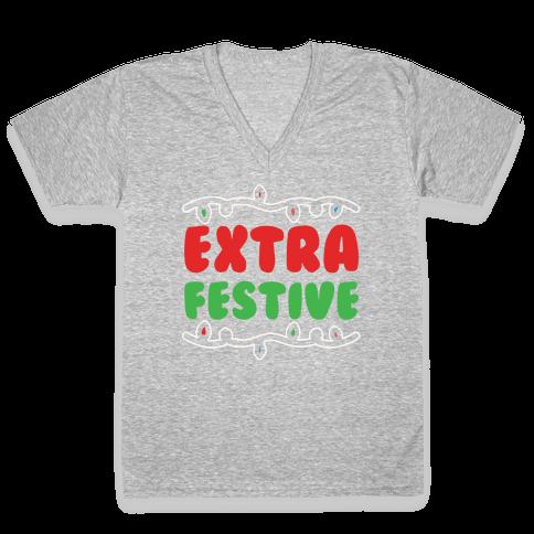 Extra Festive White Print V-Neck Tee Shirt