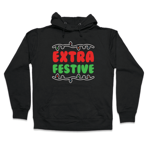 Extra Festive White Print Hooded Sweatshirt