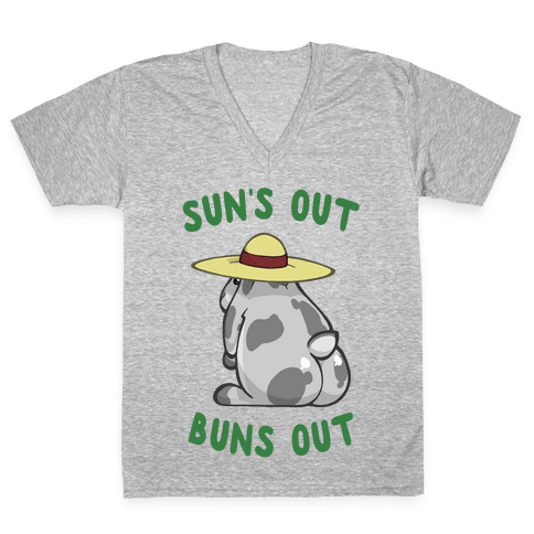 Sun's Out Buns Out Bunny V-Neck Tee Shirt