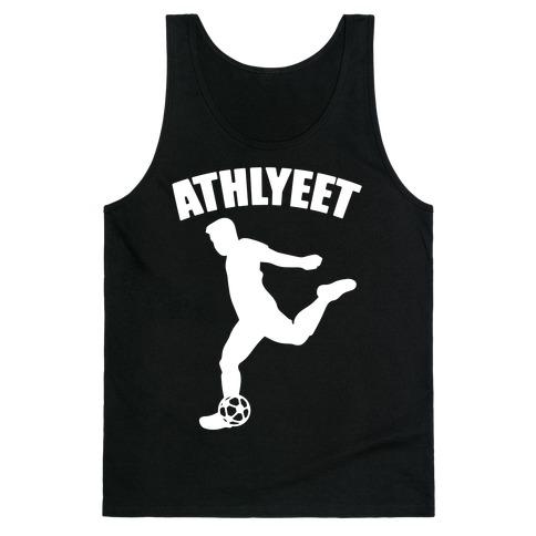 Athlyeet Soccer White Print Tank Top