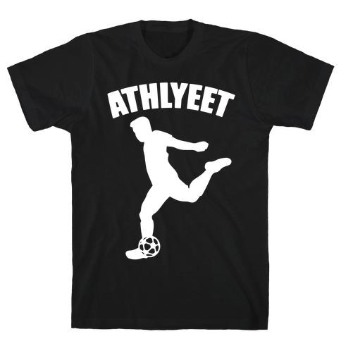 Athlyeet Soccer White Print T-Shirt
