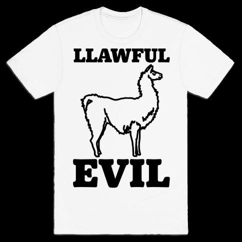 Llawful Evil Llama Parody Mens T-Shirt
