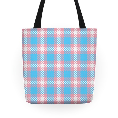 Trans Pride Flag Plaid Tote