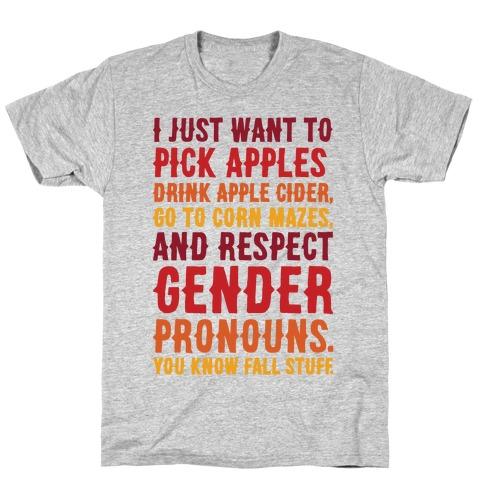 Fall Respect Gender Pronouns T-Shirt