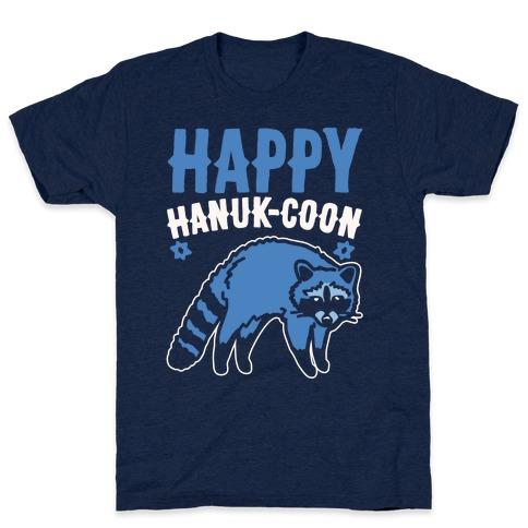 Happy Hanuk-Coon Parody White Print T-Shirt