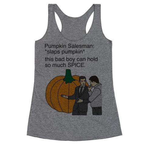 Pumpkin Salesman Racerback Tank Top