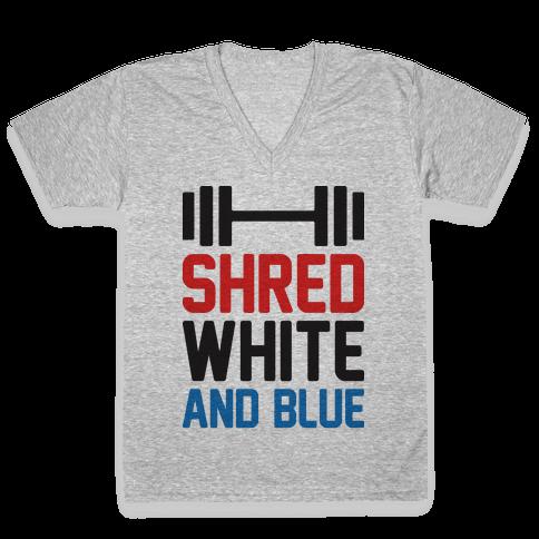 Shred White And Blue V-Neck Tee Shirt