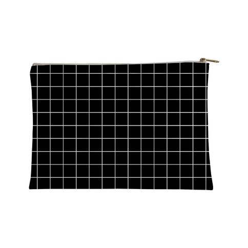 Black and White White Line Grid Design Accessory Bag