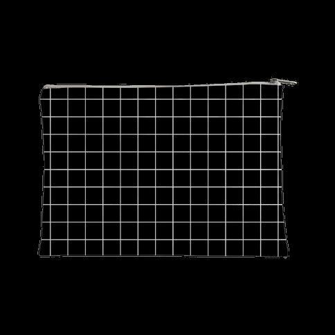 Black and White White Line Grid Design Accessory Bag