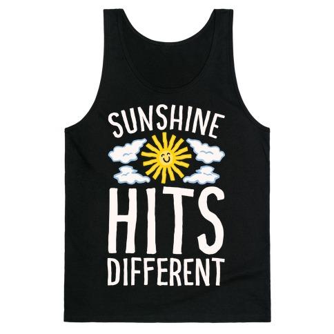 Sunshine Hits Different White Print Tank Top