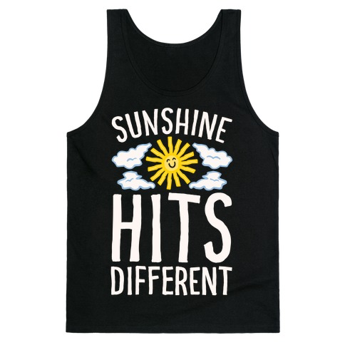 Sunshine Hits Different White Print Tank Top