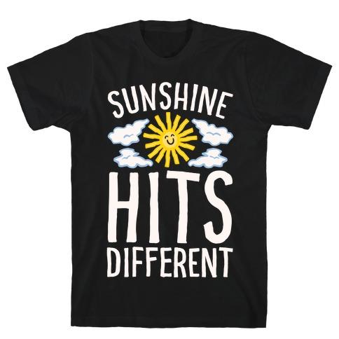 Sunshine Hits Different White Print T-Shirt