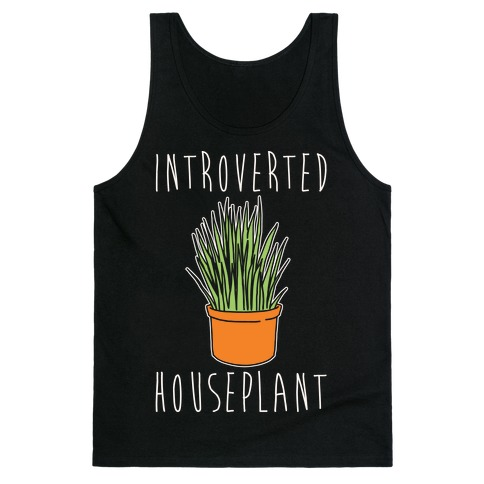 Introverted Houseplant White Print Tank Top