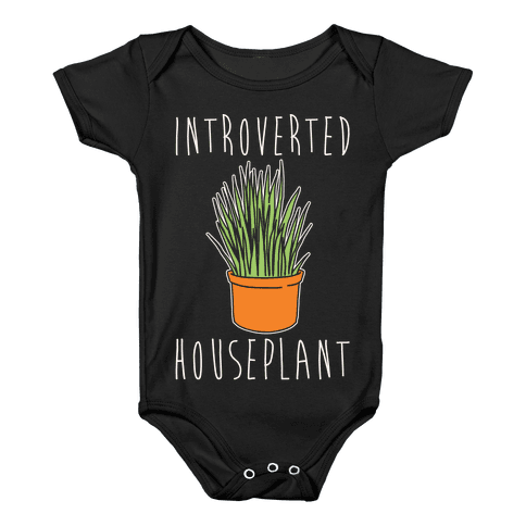 Introverted Houseplant White Print Baby Onesy