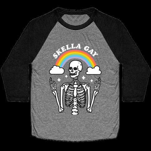 Skella Gay Skeleton Baseball Tee