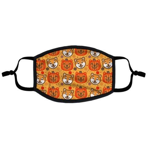 Shiba Inu Pumpkins Flat Face Mask