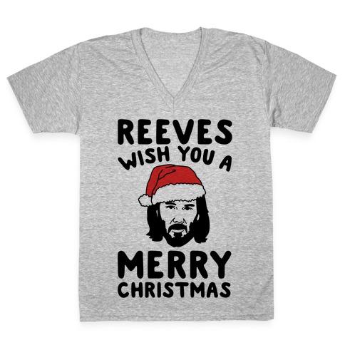 Reeves Wish You A Merry Christmas Parody V-Neck Tee Shirt