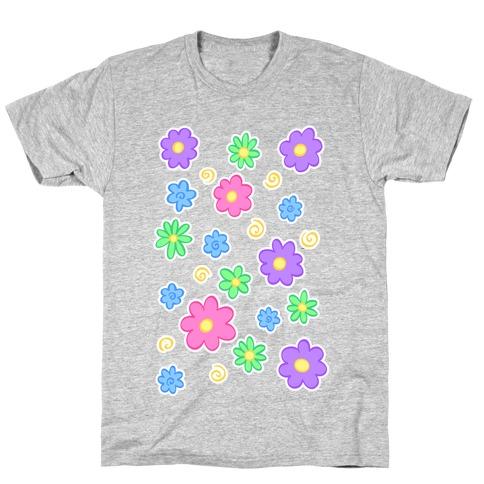 Doodle Flowers Mens/Unisex T-Shirt